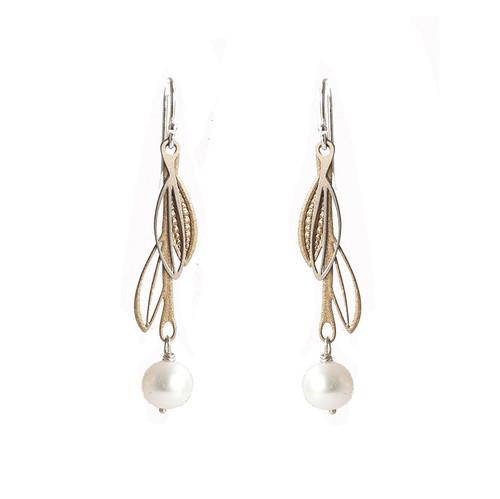 Fresh water pearl steel & gold double leaf drop earrings
