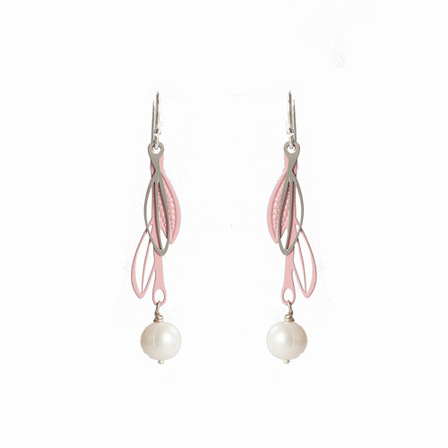 Fresh water pearl pink & steel double leaf drop earrings