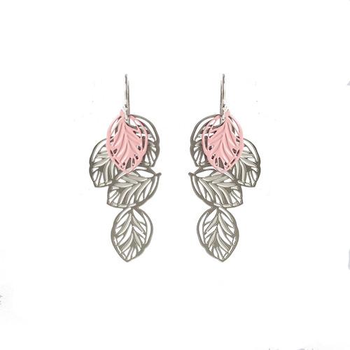 Lots of leaves earrings silver & pink