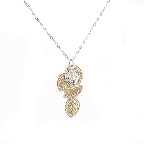 Lots of leaves pendant gold & silver