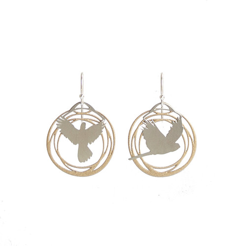 Gold and steel flight earrings