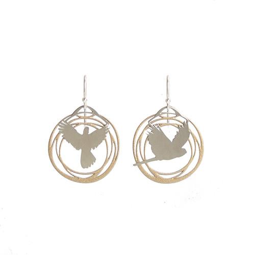 Gold and steel flight earrings