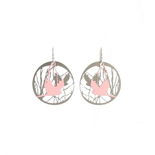 Bird and branch pink & steel earrings