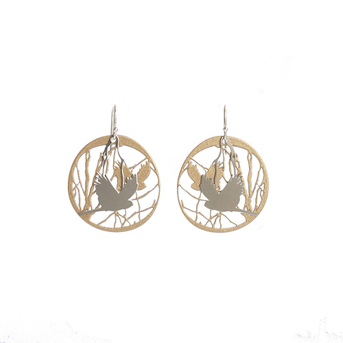Bird and branch gold & steel earrings