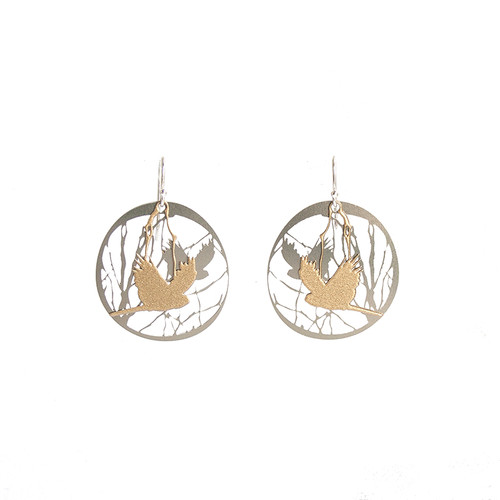 Bird and branch steel & gold earrings