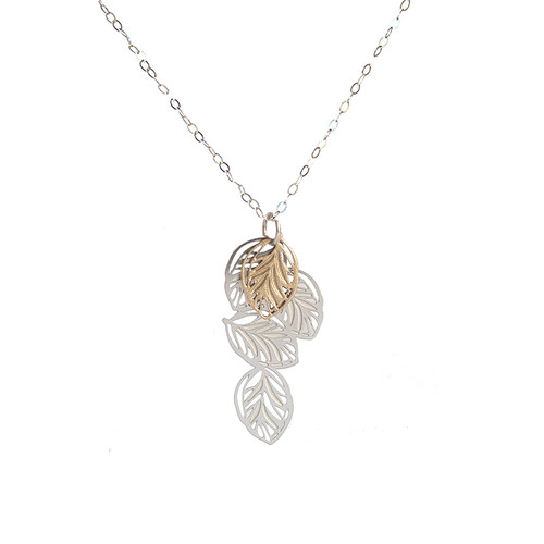 Lots of leaves pendant silver & gold