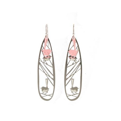 Wren earrings steel & pink