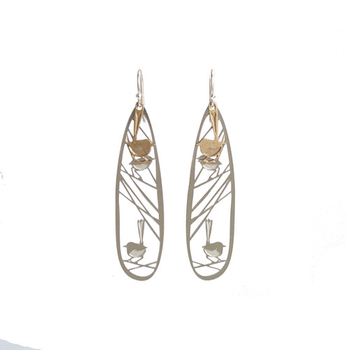 Wren earrings steel & gold