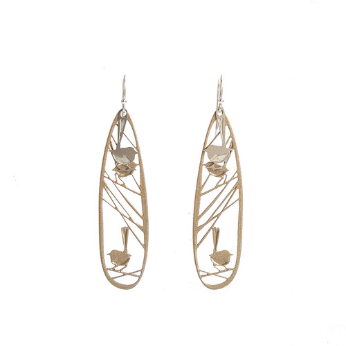 Wren earrings gold & steel