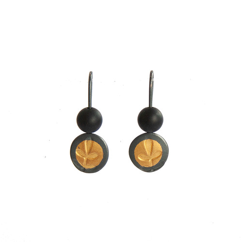 Fern gold and silver hook earrings with black onyx
