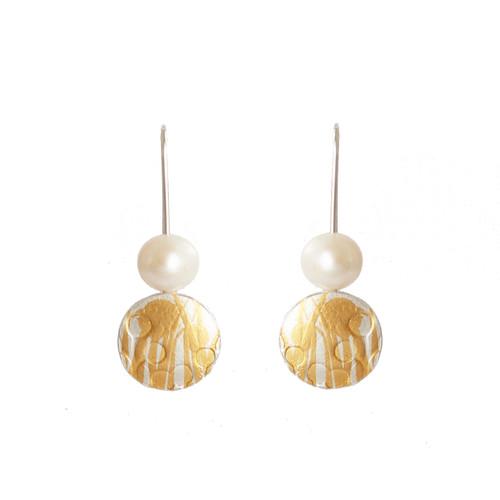 Fesh water pearl gold and silver wattle earrings