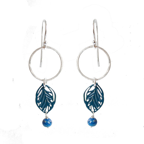 Hammered silver and blue steel leaf earrings