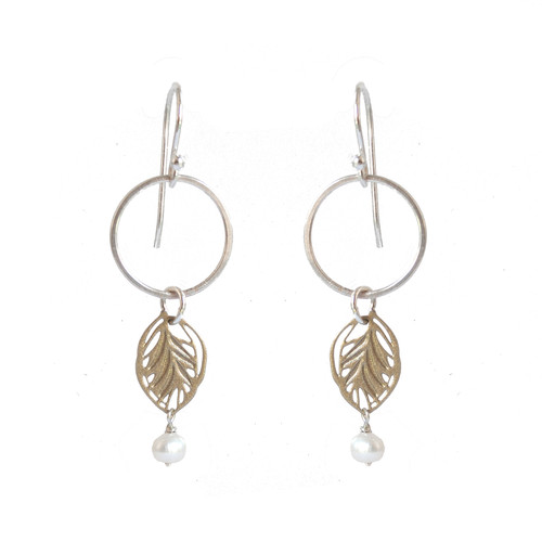 Hammered silver and gold steel leaf earrings