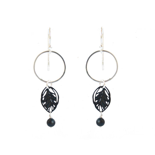 Hammered silver and black steel leaf earrings