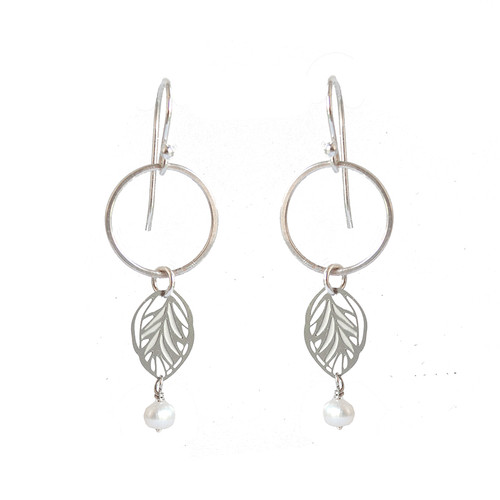 Hammered silver and steel leaf earrings