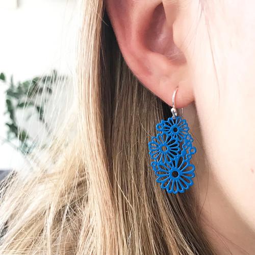 Bright blue multi daisy earrings