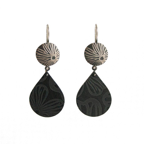 Black Stellaris silver and aluminium tear drop earrings small