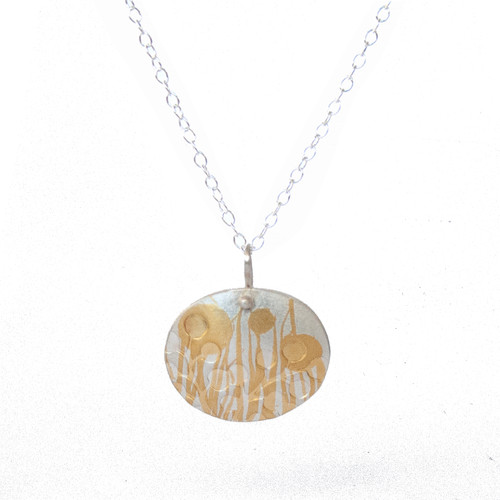 Wattle gold and silver pendant