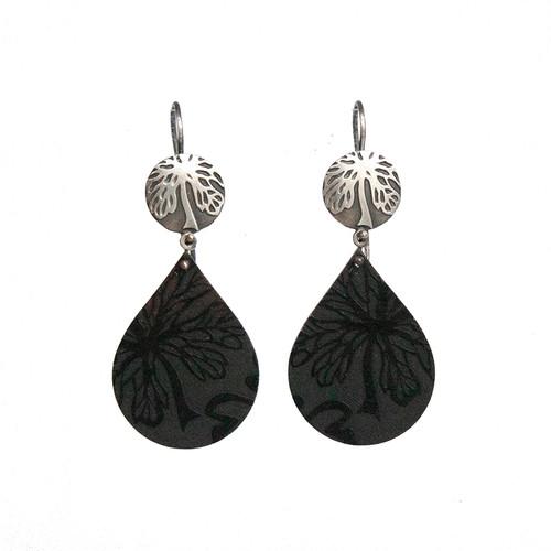 Black Alyogyne silver and aluminium tear drop earrings
