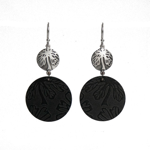 Black Alyogyne silver and aluminium round earrings