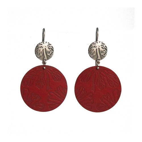 Red Alyogyne silver and aluminium round earrings