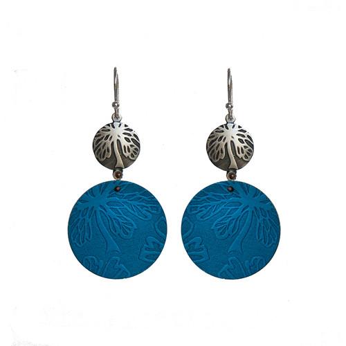 Blue Alyogyne silver and aluminium round earrings