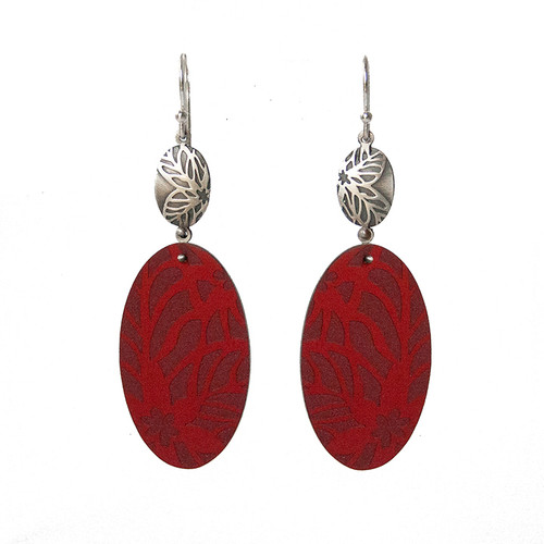 Red daisy silver and aluminium oval hook earrings