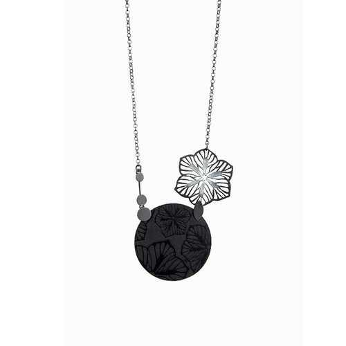 Black daisy sterling silver and aluminium necklace