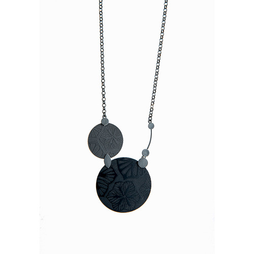 Black daisy sterling silver and aluminium disc necklace