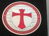 DOUBLE MOUNTED KNIGHTS TEMPLAR MASON COIN SILVERTONE RED