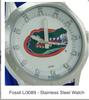 Florida Gators Fossil Watch Mens Three Hand Date Silicone Li3089 *RARE*
