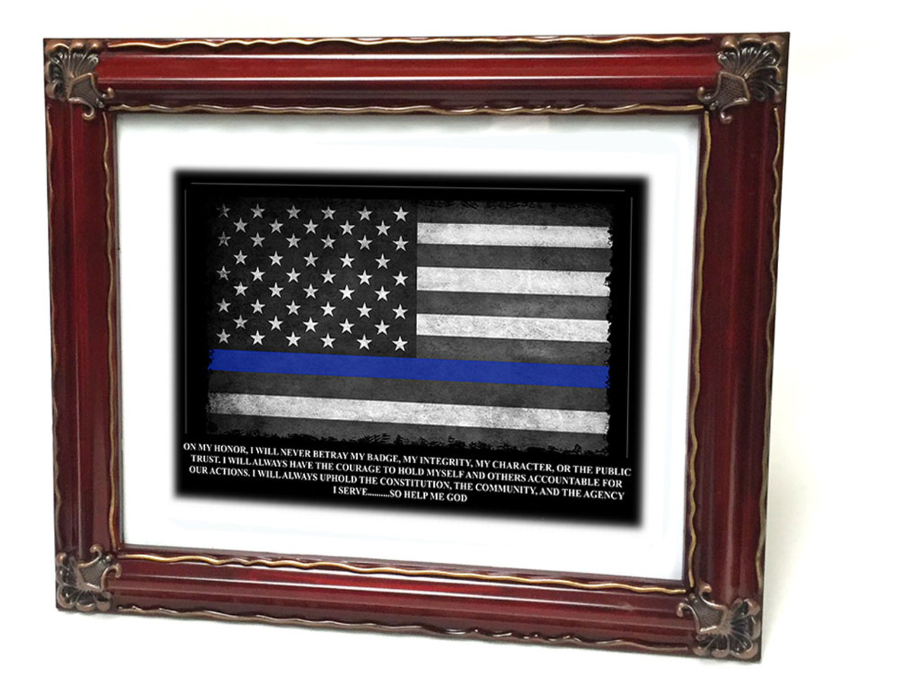 Thin Blue Line American Flag Oath Of Office Framed Police Print