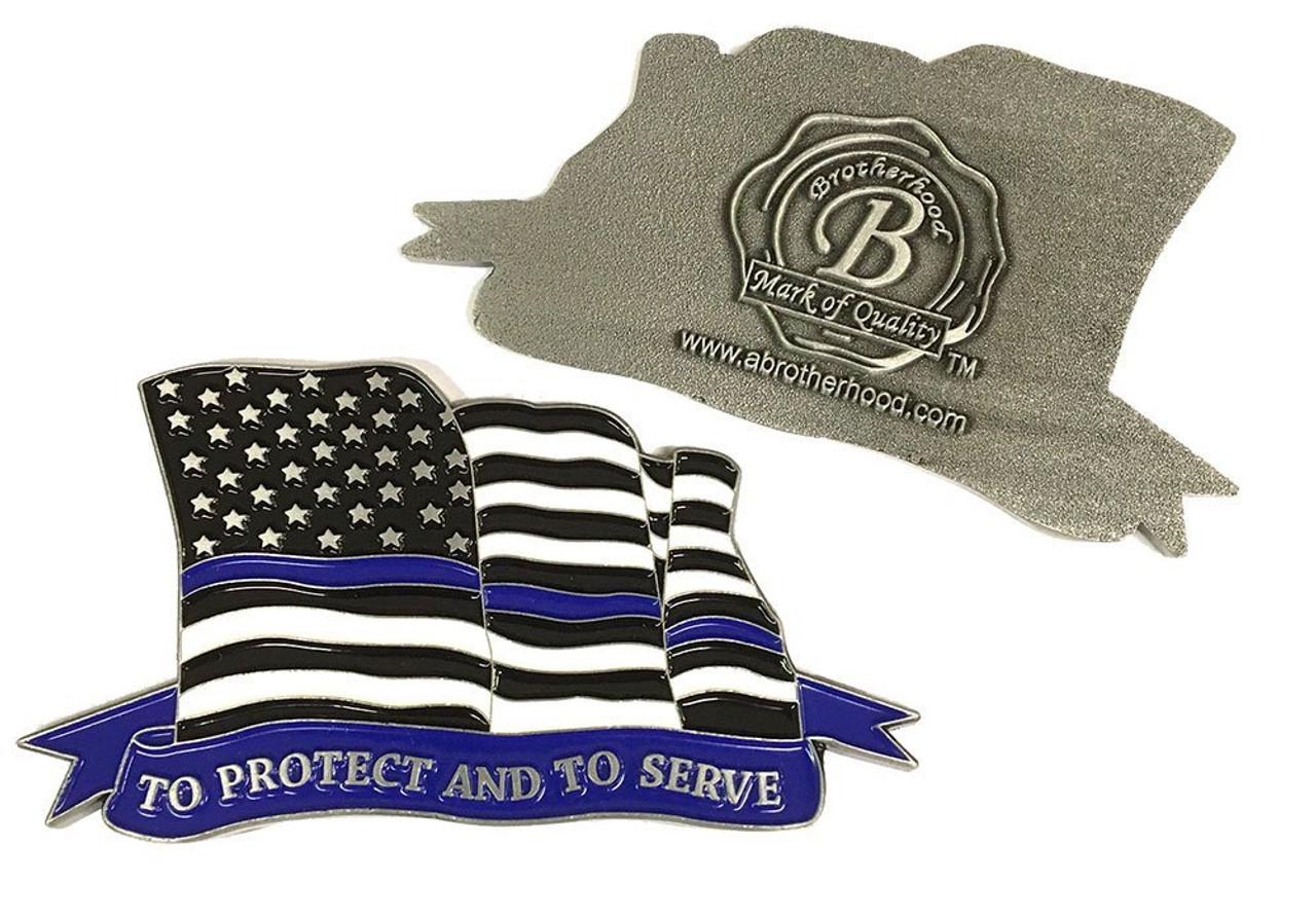 Thin Blue Line American Flowing Flag To Protect And To Serve Challenge Coin