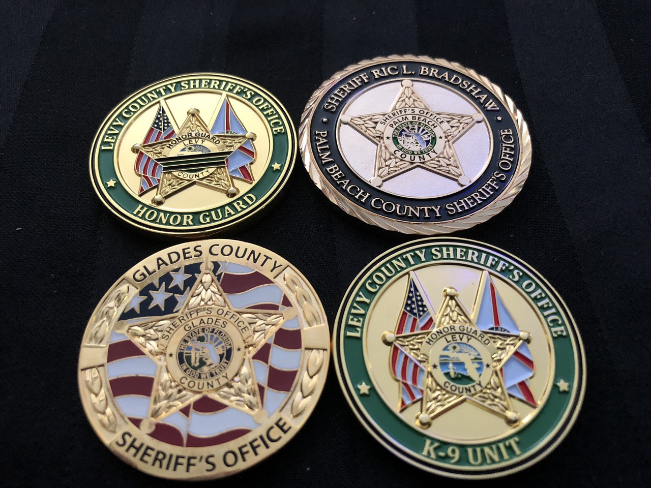 FLORIDA SHERIFFS 4 PACK OF CHALLENGE COINS RARE
