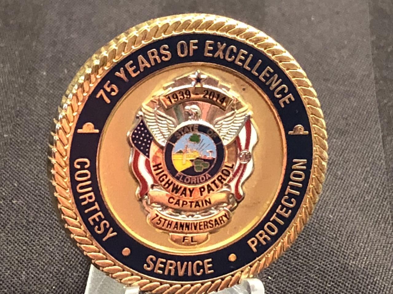 3-D BADGE FLORIDA HIGHWAY PATROL 75TH CAPTAIN COIN