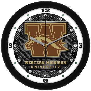 Western Michigan Broncos - Carbon Fiber Textured Team Wall Clock