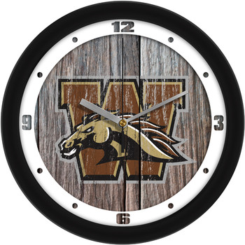 Western Michigan Broncos - Weathered Wood Team Wall Clock