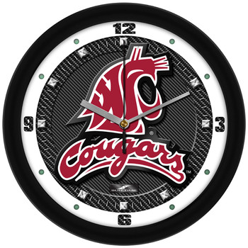 Washington State Cougars - Carbon Fiber Textured Team Wall Clock