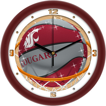 Washington State Cougars - Slam Dunk Team Wall Clock