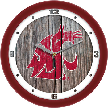 Washington State Cougars - Weathered Wood Team Wall Clock