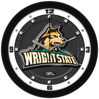Wright State Raiders - Carbon Fiber Textured Team Wall Clock