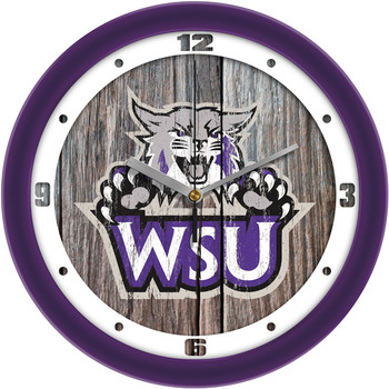 Weber State Wildcats - Weathered Wood Team Wall Clock