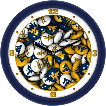 West Virginia Mountaineers - Candy Team Wall Clock