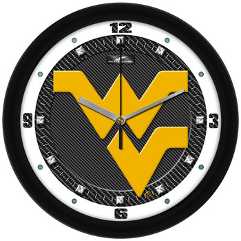 West Virginia Mountaineers - Carbon Fiber Textured Team Wall Clock