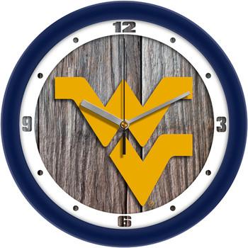 West Virginia Mountaineers - Weathered Wood Team Wall Clock
