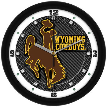 Wyoming Cowboys - Carbon Fiber Textured Team Wall Clock