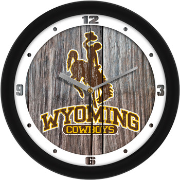 Wyoming Cowboys - Weathered Wood Team Wall Clock