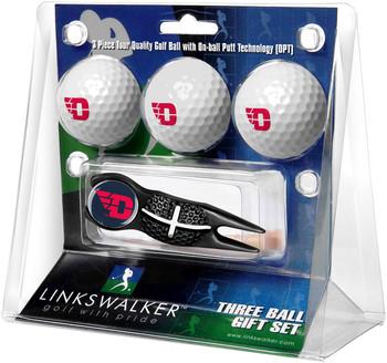 Dayton Flyers - Black Crosshair Divot Tool 3 Ball Gift Pack