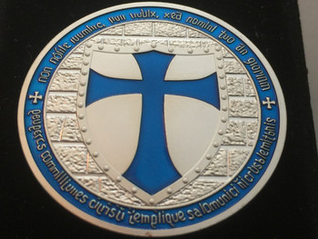 MOUNTED KNIGHT TEMPLAR MASON COIN SIILVER BLUE