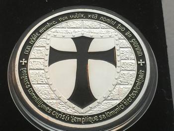 DOUBLE MOUNTED KNIGHTS TEMPLAR MASON COIN SILVERTONE BLACK